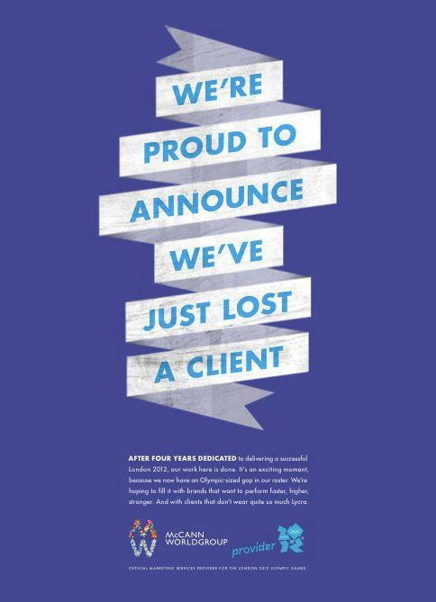 """""""McCann, the ad agency for London 2012, bids farewell to the Olympics with this full-page ad."""""""