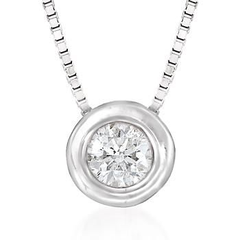 .12 ct. t.w. Bezel-Set Diamond Solitaire Necklace in 14kt White Gold