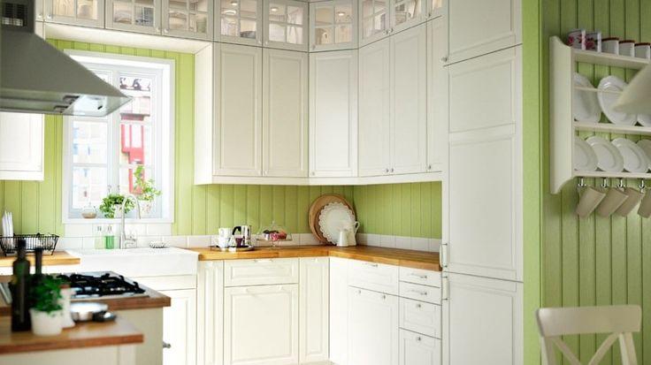cuisine mur lambris vert ikea