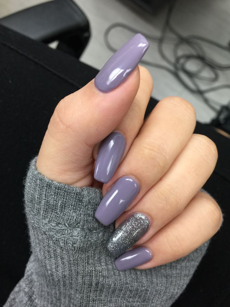 Purple grey acrylic coffin shaped nails