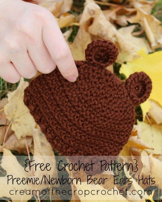 Cream of the Crop Crochet~Preemie/Newborn Bear Ears Hat {free #crochet pattern} #handmade