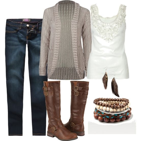 fall-outfits-2012-14 - Camisole with cozy cardigan and boots