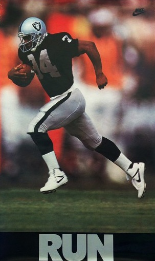 RUN - Bo Jackson- ran the fastest 40yd dash clocked in the NFL  4.12 sec.