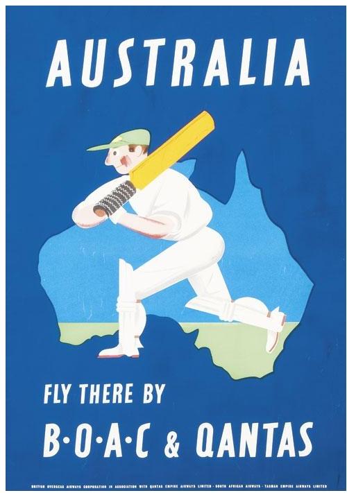 - BOAC & Qantas Airlines, Australia travel poster cricket player
