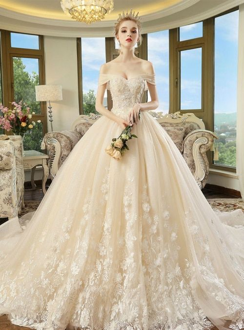 Champagne Tulle Appliques Off The Shoulder With Long Train Wedding