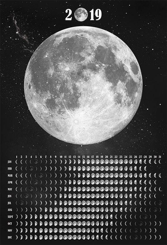 Moon Calendar 2019 Lunar Calendar Moon Phase Poster Calendrier