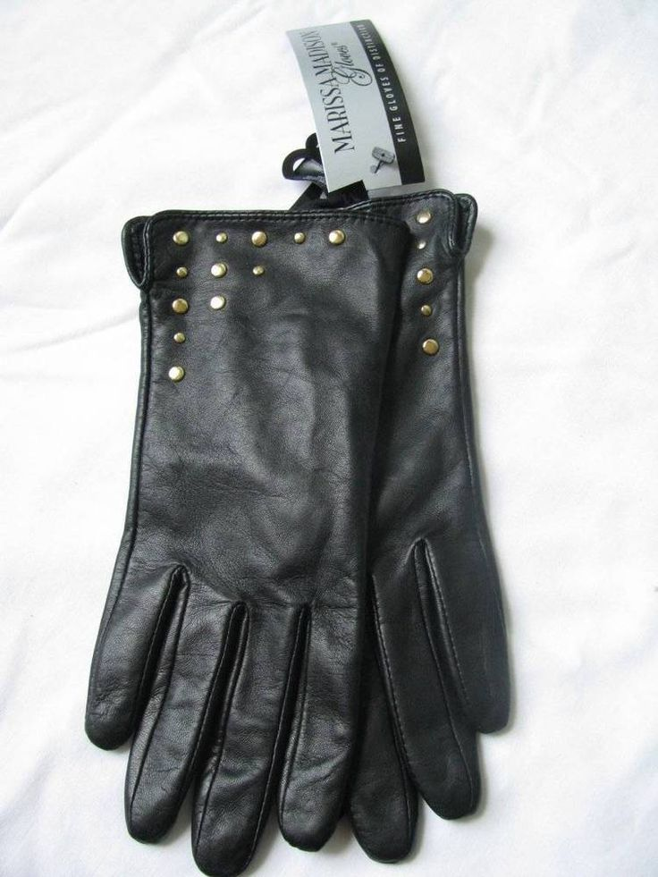 Marissa Madison Women's Black Leather With Gold Studs Gloves Size M NWT #MarissaMadison #EverydayGloves