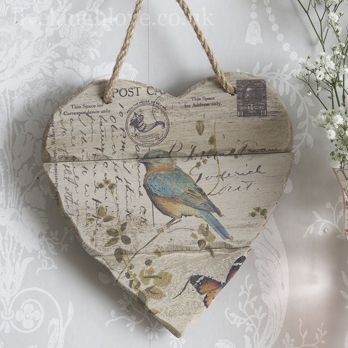 Hanging heart, shabby chic accessories, Live Laugh Love
