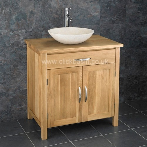 Ohio Solid Oak Double Door Bathroom Basin Cabinet With Portici Stone Basin