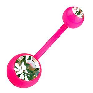Rózsaszín szárú fehér köves bioplast köldök piercing