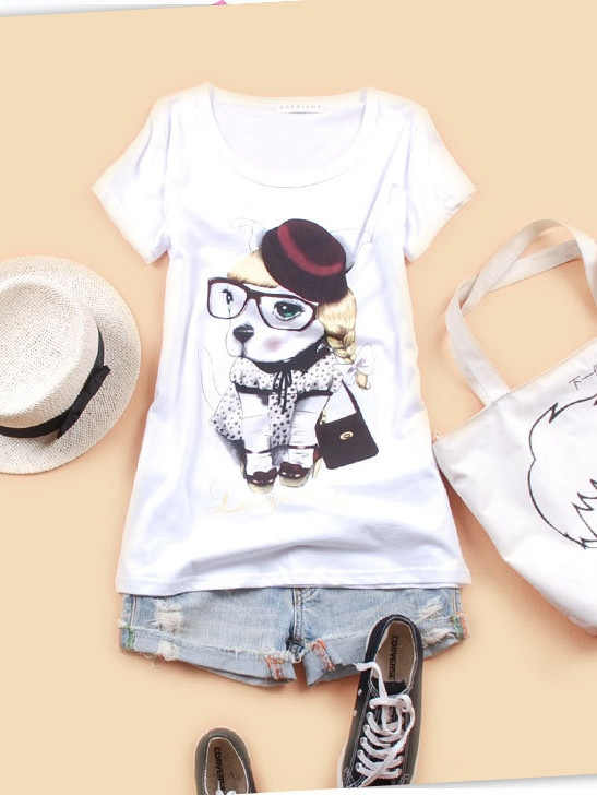 Personality & Fashionable Floral Printing Short-sleeve T-shirt----Dog pattern