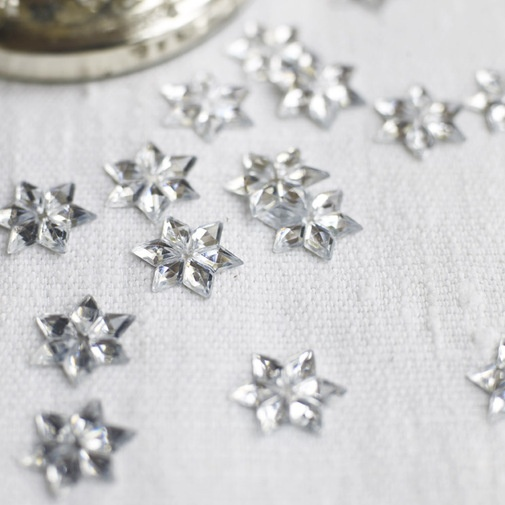 Silver Scatter Stars    If you liked our silver scatter flowers you'll love these. A Christmas version featuring stars,in sparkling silver faceted acetate,they really do add some glitz when scattered on the Christmas table. Don't stop there though,stick them to your name places or gift labels,and watch them catch the light. Contains over 200 stars.