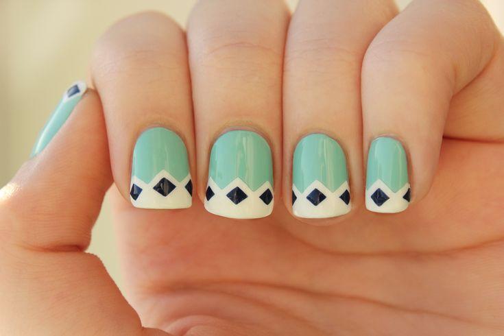 Cute.: Diamonds Nails, Mint Green, Nails Art, Cute Nails, Mint Nails, Nails Design, Nailsart, French Tips, Retro Nails
