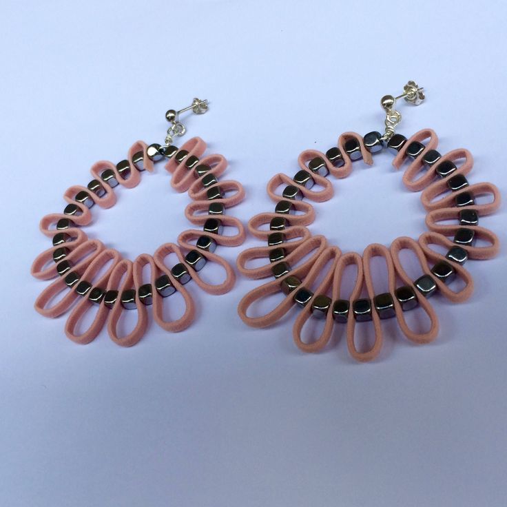 Silver hoops,Sterling silver hoops, Leather hoops with hematite, Pink hoops ,pink man made leather ,pink earrings ,large hoops ,gift for mom by TzenNikoletta on Etsy