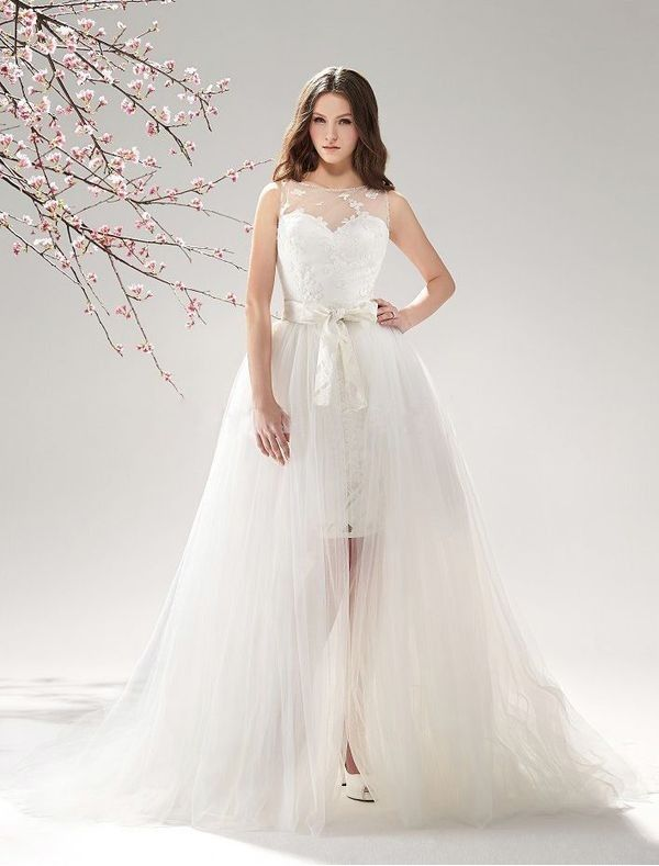 Lace And Tulle 2 In 1 Wedding Dress With Detachable Train