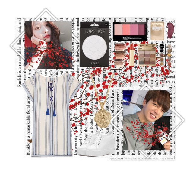 """""""Jungkook Date Inspired Outfit ©Copyright"""" by serenegotnojams ❤ liked on Polyvore featuring Brewster Home Fashions, Lemlem, Topshop, Maybelline, tarte, Lapcos, Stila, Giorgio Armani, Kat Von D and 2028"""