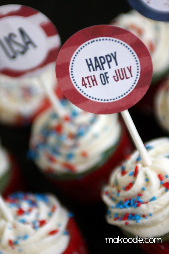 Printables: July Cupcakes, Cupcakes Obsession, Kaykay Cupcakeri, Cupcakes Toppers, 4Th Of July, Cups Cakes, Cupcake Toppers, Infinti Cupcakes, Printable Cupcakes