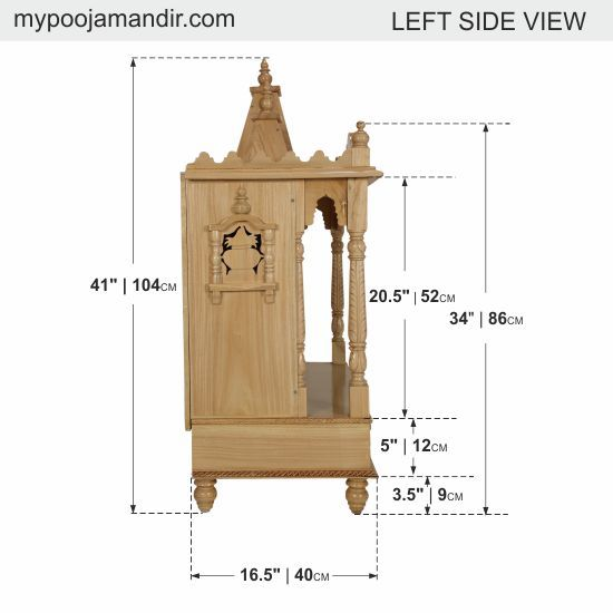 "Mandir for Home | Wooden Temple for Home Puja / Pooja with three Domes 29""Lx 16""B"
