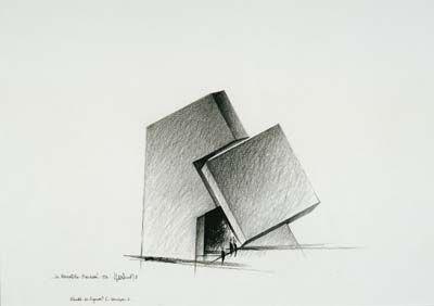 Claude Parent, Le Monolithe fracturé, Pavillon français de la Biennale de Venise, 1996
