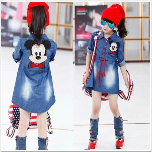 Cartoon Jean Jacket Kids Mickey Mouse Girl Set 160cm Dresses Hanbok Lapel Denim…