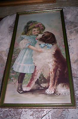 VTG ANTIQUE LOOK VICTORIAN GIRL ST. BERNARD 2/3 YARD LONG ...