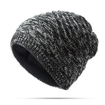 b080fd9cdf0d1 Mens Women Twill Knitted Both Sides Wear Beanies Hat