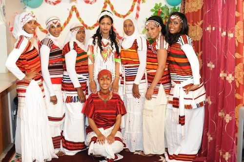 Oromo Bride and her brides-maids. Ethiopian/Oromo culture