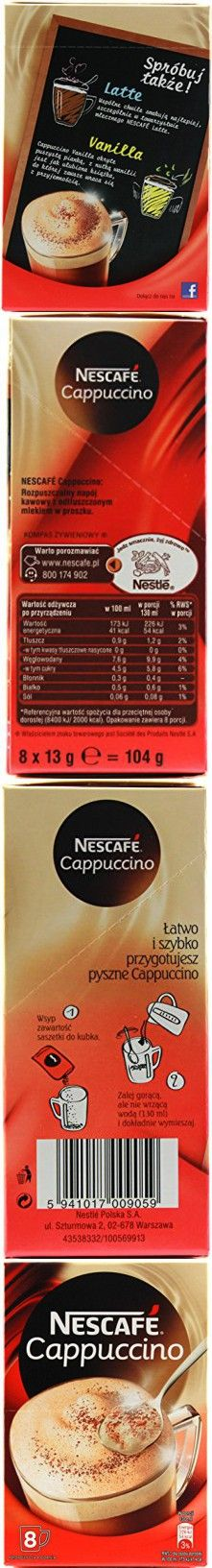 3 Packs of Nescafe Instant Cappuccino in Individual Pockets (8 Pockets Per Pack)