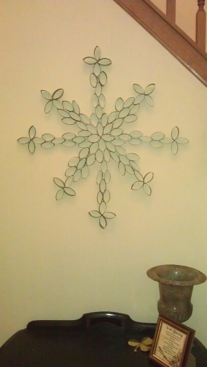 """Paper towel roll snowflake wall art.  Can be painted but I left mine natural.  This one is 28"""" across."""