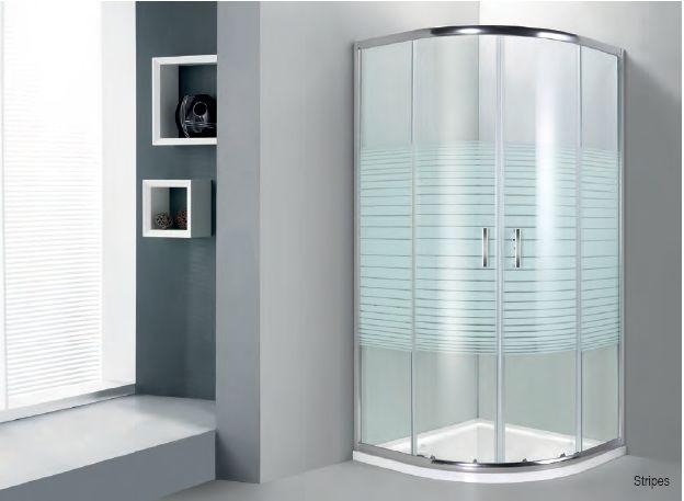 οβάλ κρυστάλλινη καμπίνα ντουζ με ρίγες
