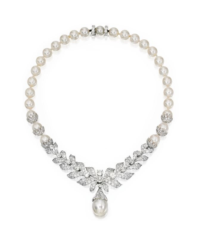 Cultured Pearl, Platinum and Diamond Necklace, Circa 1940