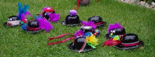 We decorated our own Mad Hatter hats as a party activity.