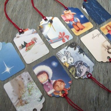 Turn old christmas cards into tags