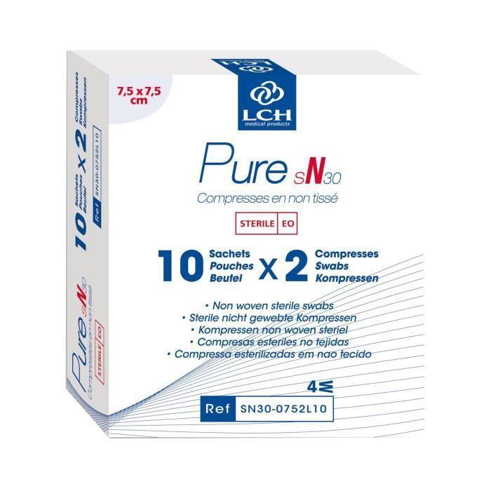 Lot De 80 Boites De 20 Compresses Pure Non Tisse Sterile 30g 7 5x7