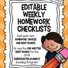 *Download the Preview to see the different versions included.*  I created these to use as weekly homework checklists. You can tell the children wha...