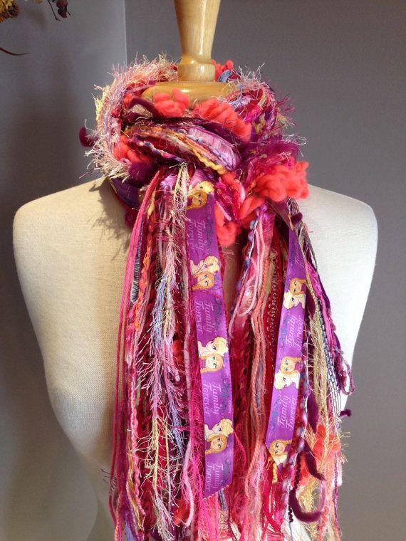 Handmade Scarves  Fringie in Elsa and Anna by RockPaperScissorsEtc, Disney Frozen, Elsa and Anna Ribbon fringe scarf