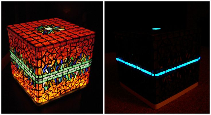 Cubical mood lamp decorated with glass mosaic. The top can be taken down so it becomes a storage box. With LED lighting and fluorescent mosaics which illuminate 5-6 hours after the turning off the light.  25x25x25 cm