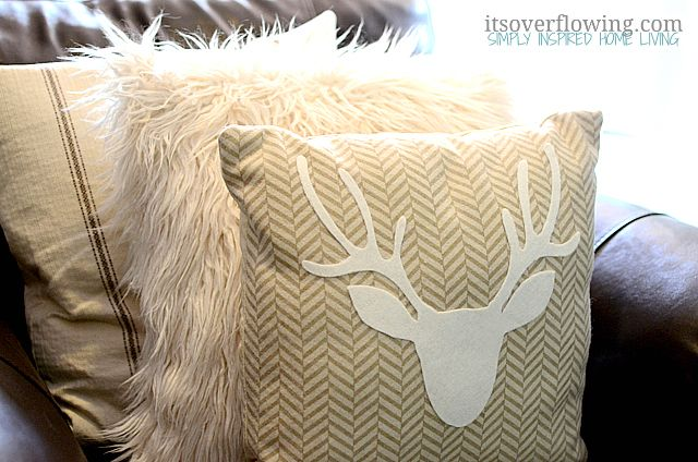 No Sew Pillow {West Elm Inspired} - Its Overflowing - DIY Projects DIY antler pillow