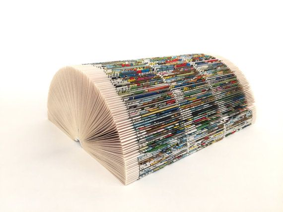 Note holder comic book arts book fold Upcycling by PaperArtSabine