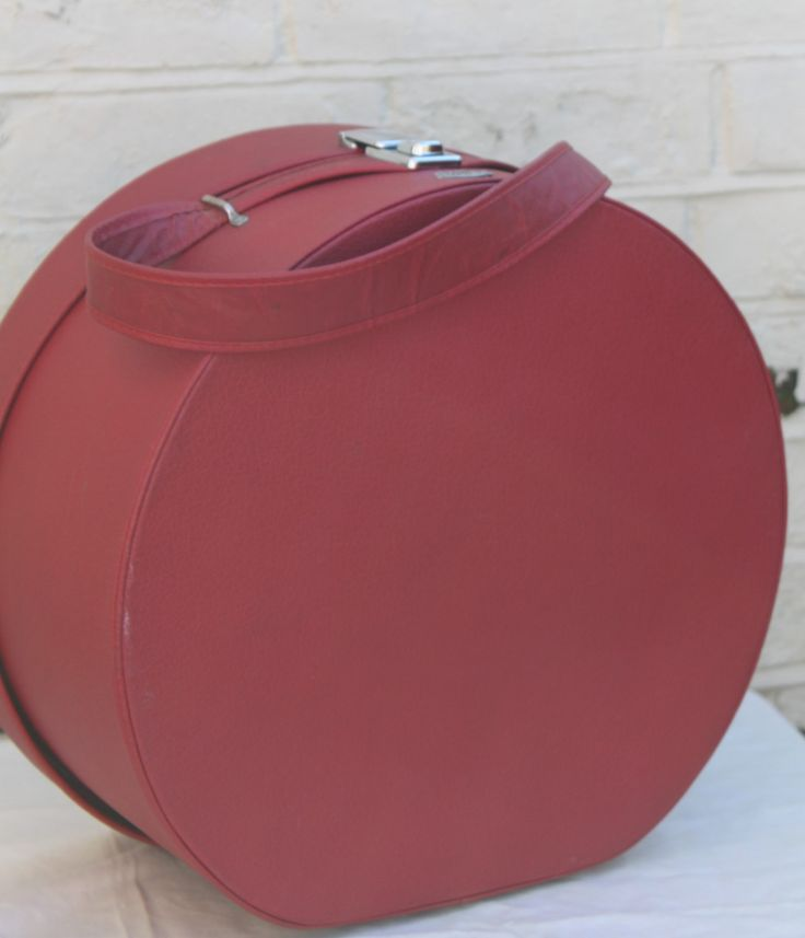 Red Leather Round Travel Case by Antler Luggage of London England by AtticBazaar on Etsy