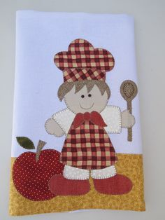 Patch aplique de Cozinheiro e maçã. Bordado em ponto caseado. Barra e aplicação em tecido 100% algodão. Sob encomenda, as estampas podem sofrer alterações, mantendo as tonalidades.