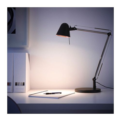 UPPBO Work lamp  - IKEA. Swap large ceramic jar lamp for this to free up space on dresser. Repurpose ceramic jar lamp.