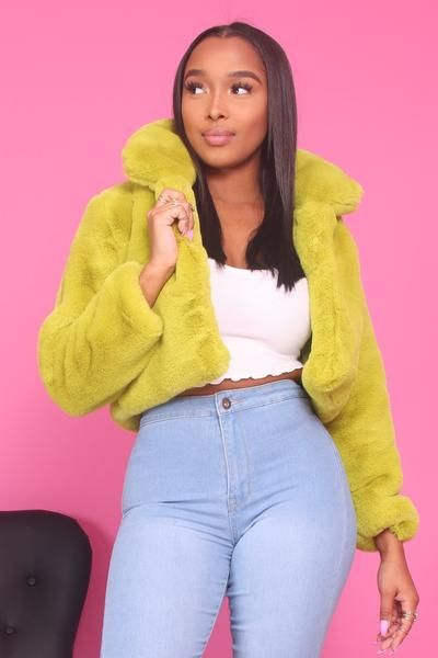 64ccd86ce Pull up on the scene in this lime green, faux fur coat. This jacket  features a popped collar, long sleeve, and a cropped fit.