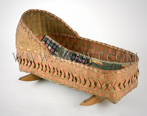 Antique Doll Cradle, Woodland Indian Made, Angle View