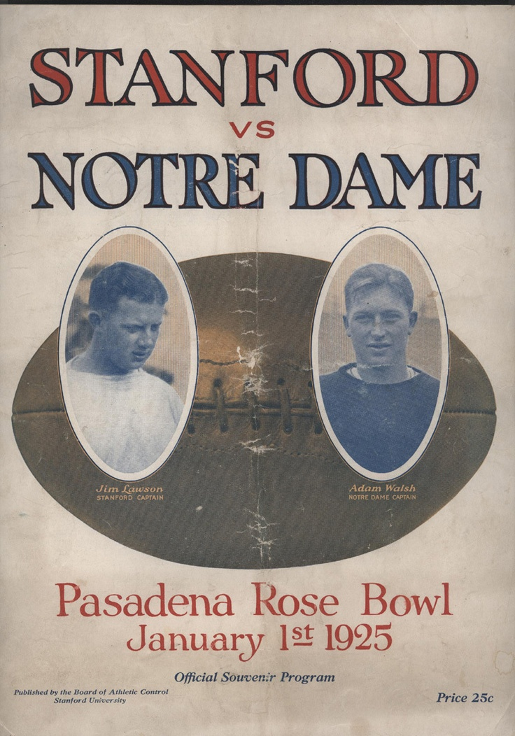 1925 Rose Bowl Game Program between Stanford vs. Notre Dame
