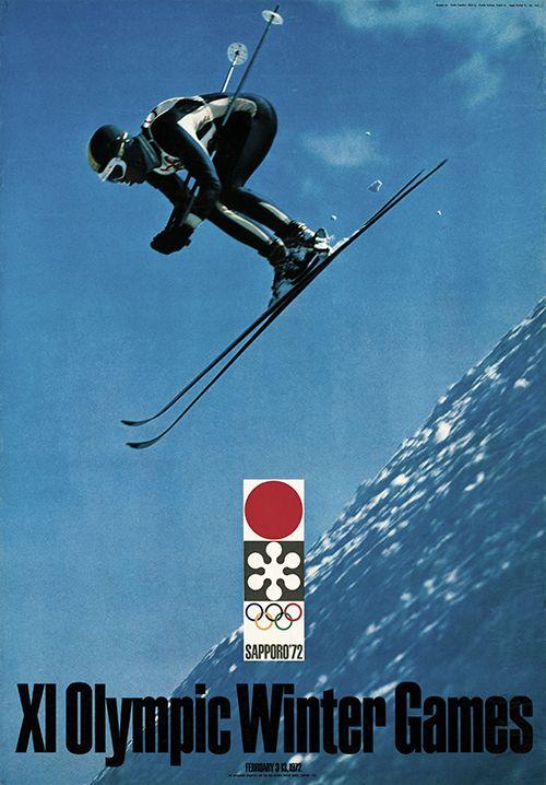 XI. Olympic Winter Games Sapporo 1972 (Japan) - Ski Abfahrtslauf Organisationskomitee für die 11. Olympischen Winterspiele, Japan. Entwurf Yusaku Kamekura (Foto Kiyoshi Fujikawa), Japan 1969.