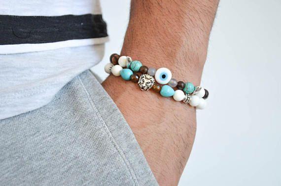 Men's Summer Bracelets, Summer Beaded Bracelets Men, Bright Beads Bracelets, Men's Jewelry, Made in Greece by Christina Christi Jewels.