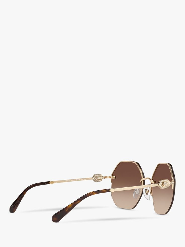 BVLGARI BV6122B Women's Irregular Oval Sunglasses, Gold/Brown Gradient