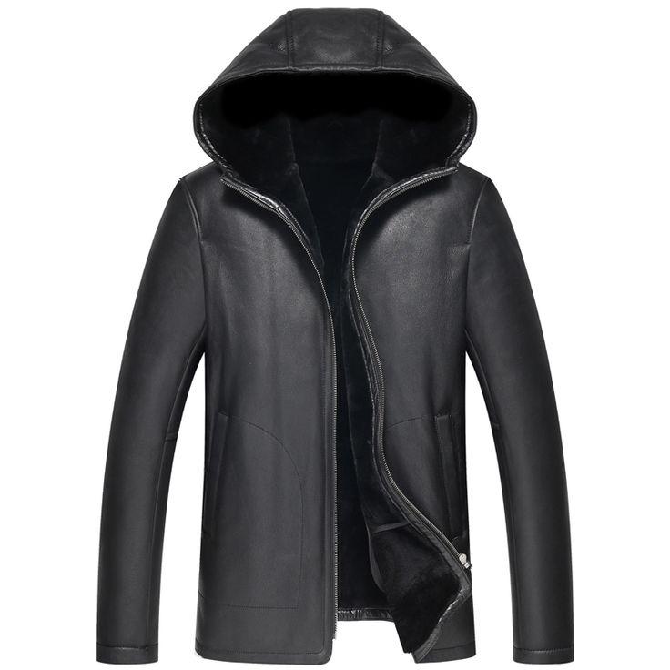 $559.2  Leather Jacket Men Shearling Coat Black Leather Coat Genuine Leather Hooded Parka Luxury Outerwear
