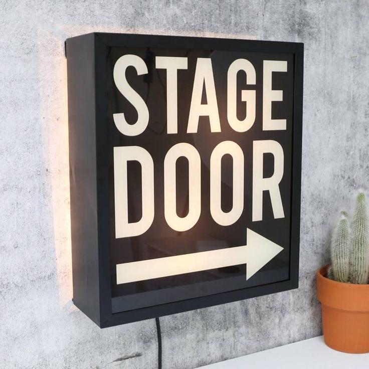 STAGE DOOR Light Up Box UK Mains Plug 240v Black White Arrow Metal Sign Retro